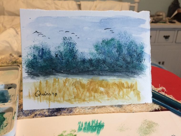 Watercolour painting landscape geese flying against dark blue sky