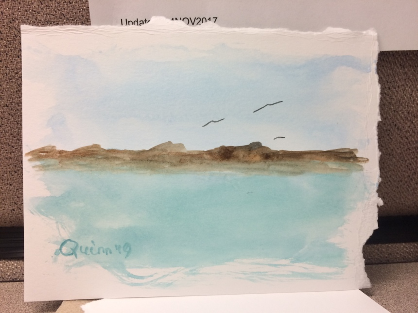 Watercolour painting landscape water and land