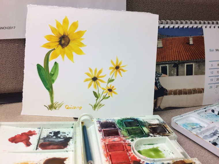 Watercolour painting sunflower and Black-eyed Susans