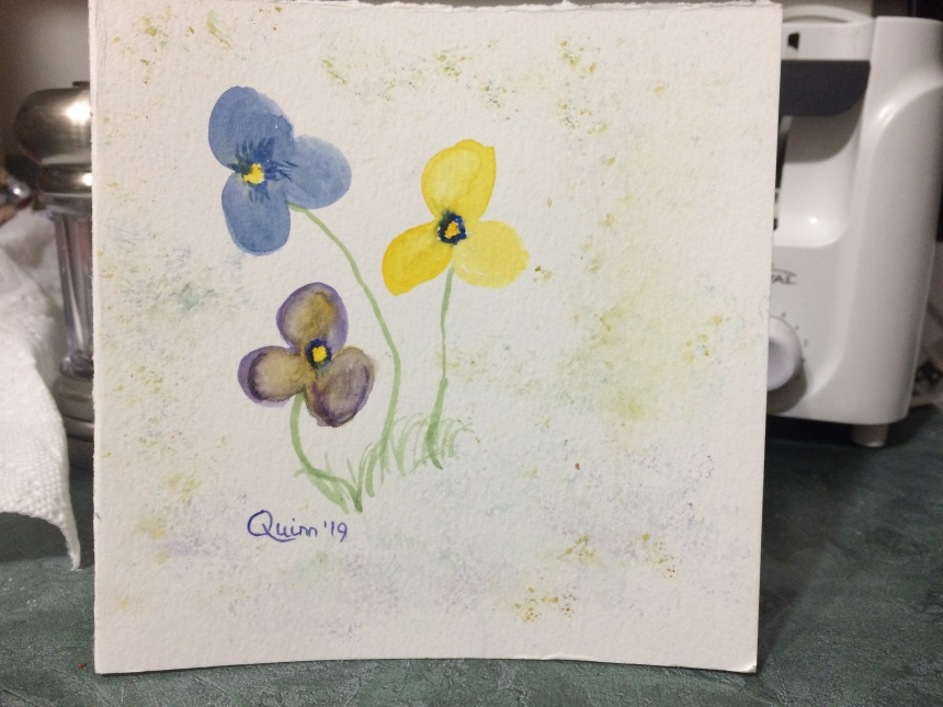 Watercolour painting of pansies