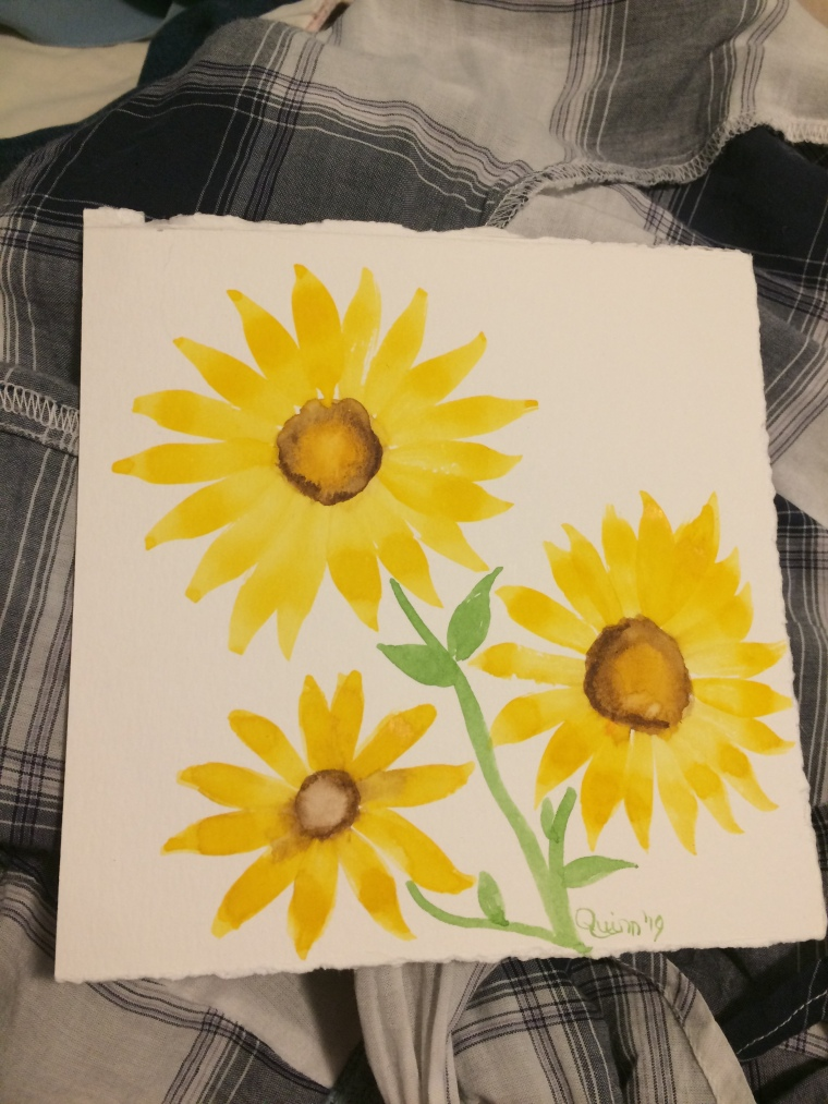 Watercolour painting of three sunflowers