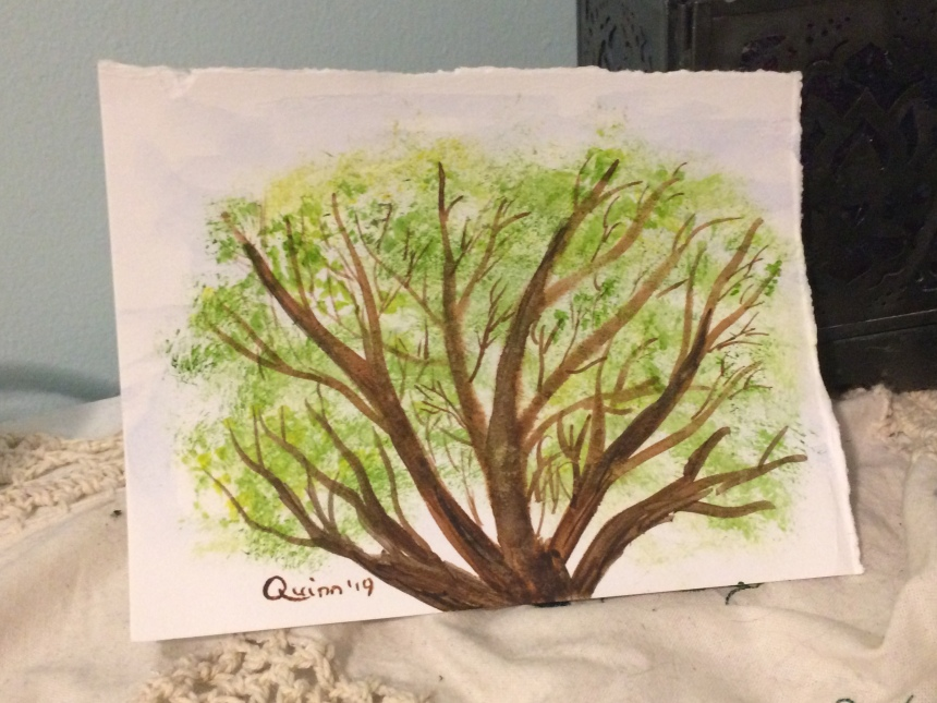 Watercolour painting of tree with leaves blossoming