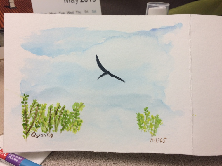 Watercolour painting of turkey vulture in flight