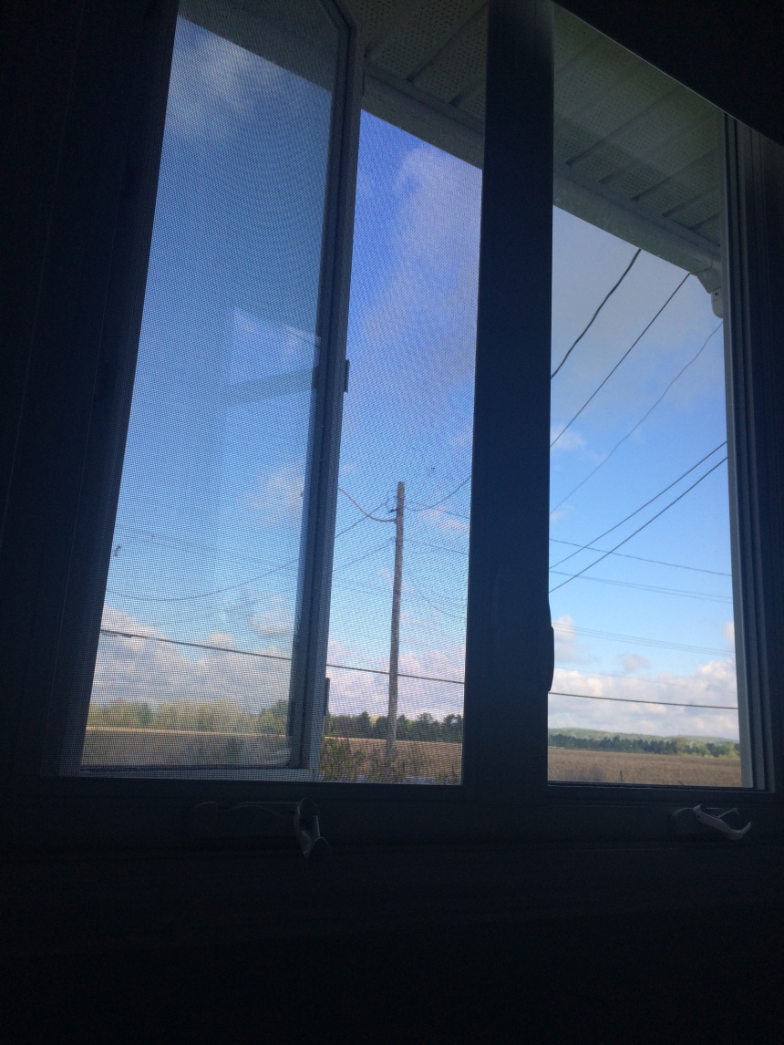 Blue sky through window