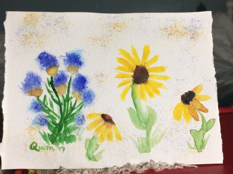 Watercolour painting flowers