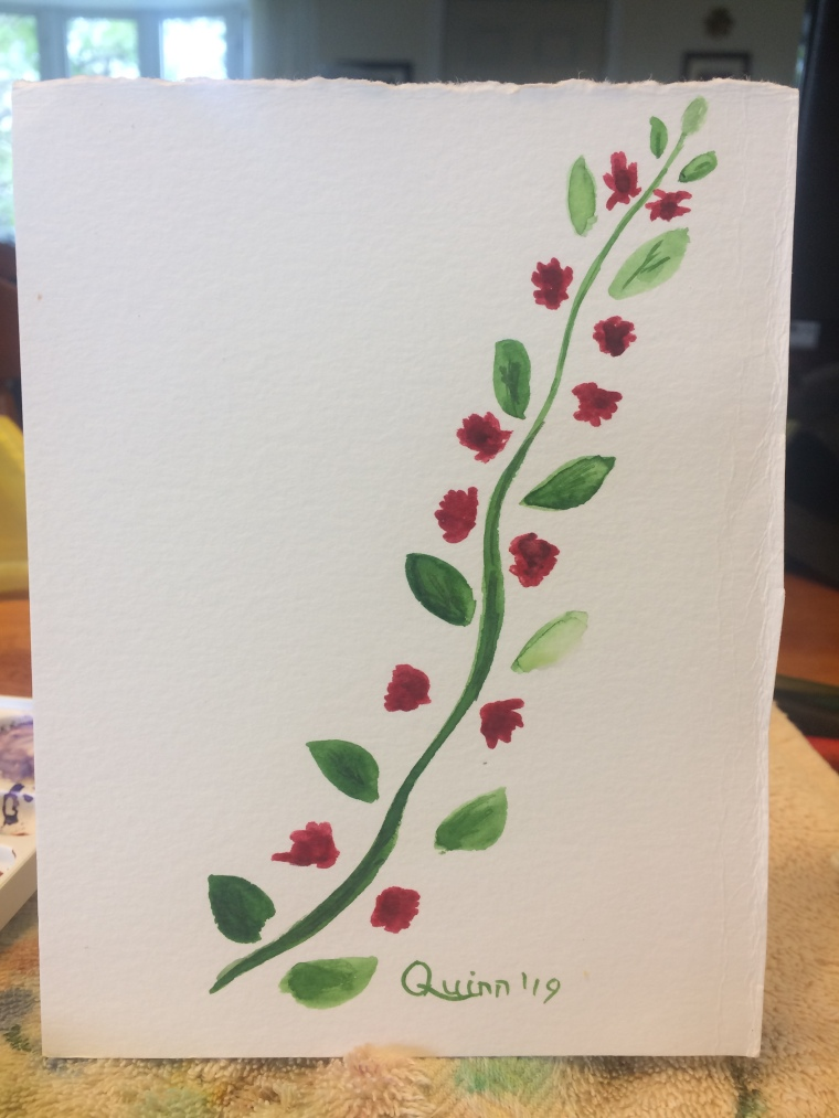 Watercolour painting vine with red flowers