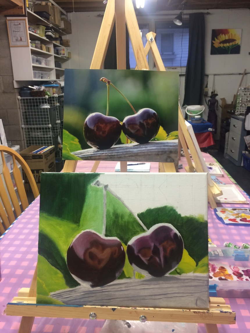 Oil painting of cherries