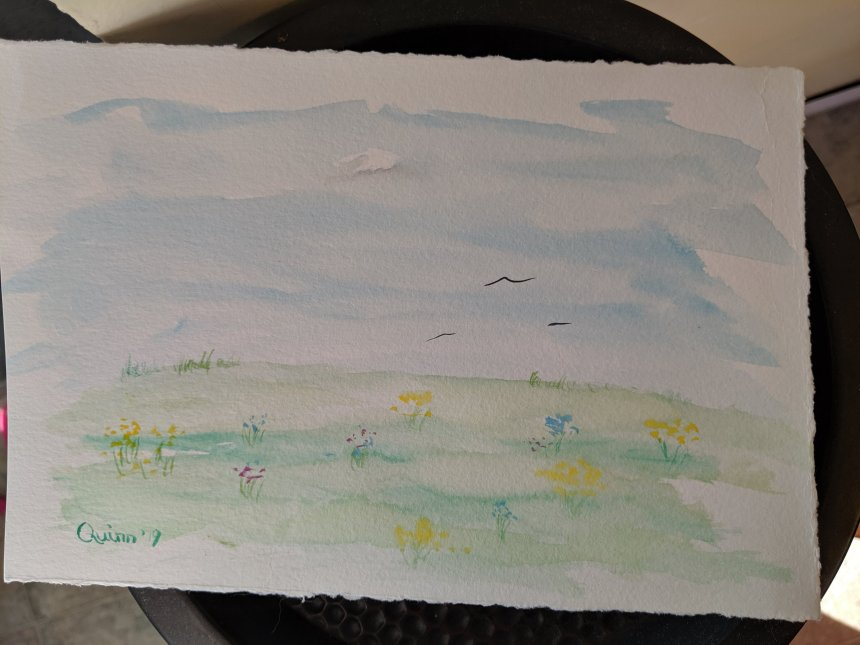 Watercolor painting landscape blue sky green grass wildflowers