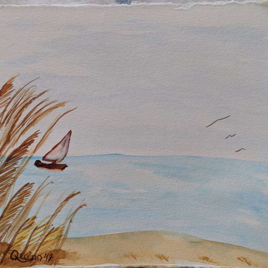 Watercolor painting sailboat on rough waters