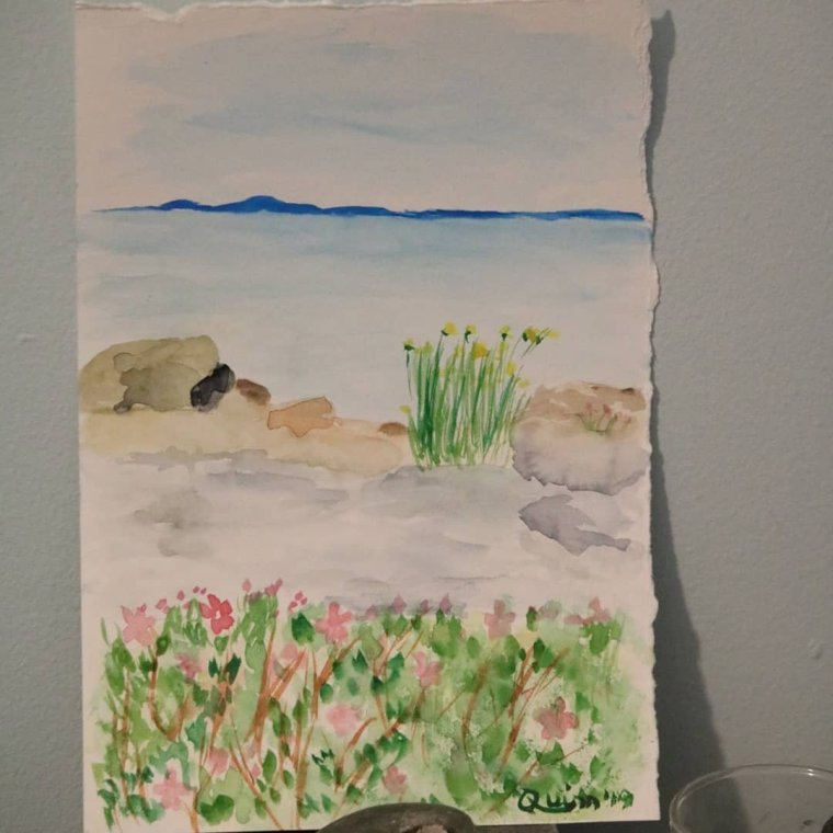 Watercolor painting sea rocks and flowers