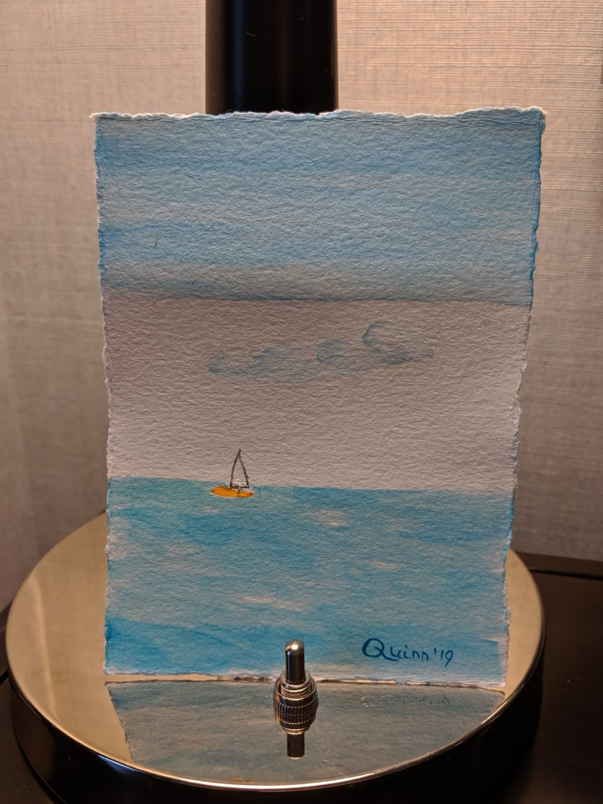 Watercolor painting sky and Lake Ontario with sailboat