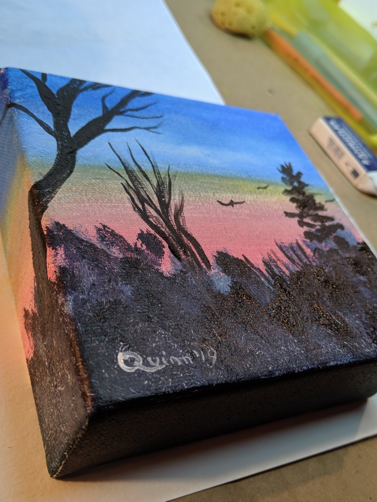 Side view of sunset acrylic painting