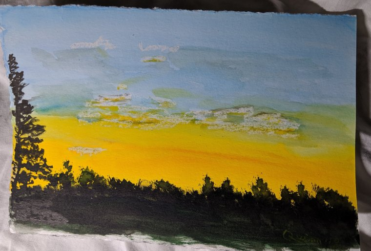 Watercolour painting landscape sunset