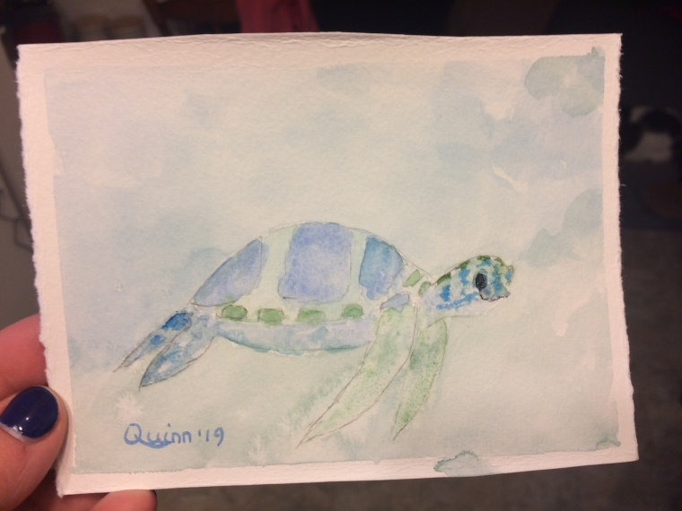 Watercolour painting of a sea turtle