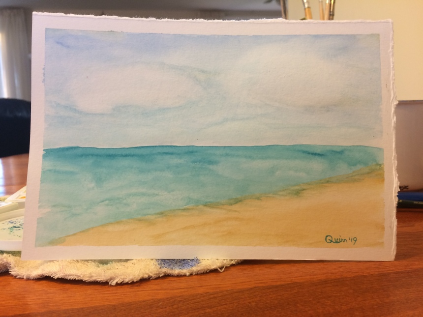 Watercolour painting beach