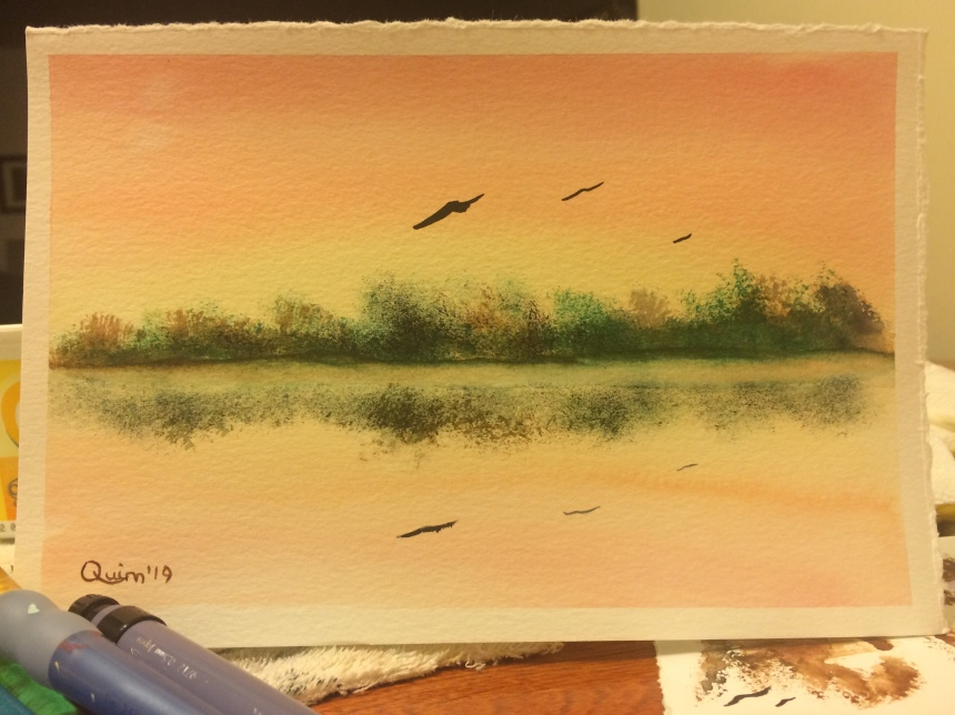 Watercolour painting sunset reflections