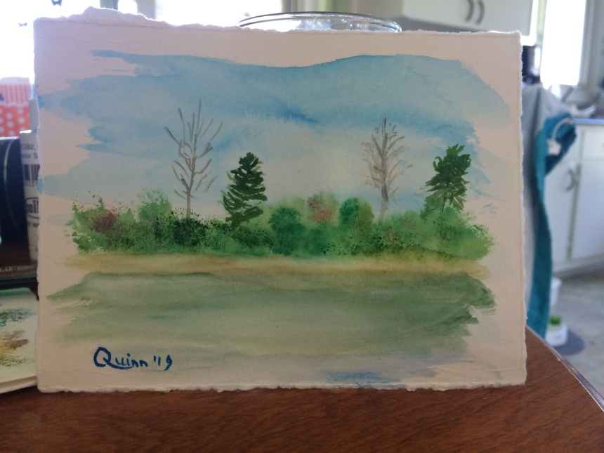 Watercolour painting landscape