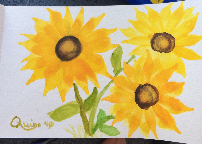 Watercolour painting sunflowers