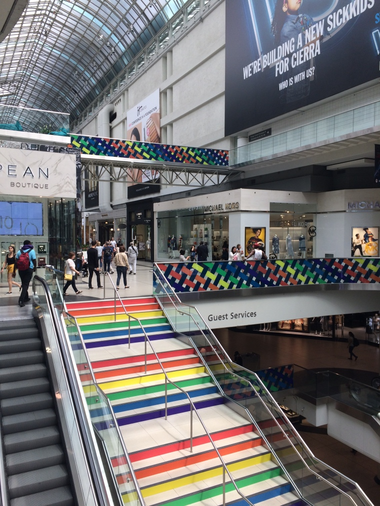 Rainbow colour stairs at Eaton centre Toronto