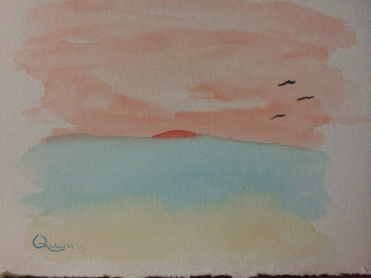 Watercolour painting sunset at the beach.