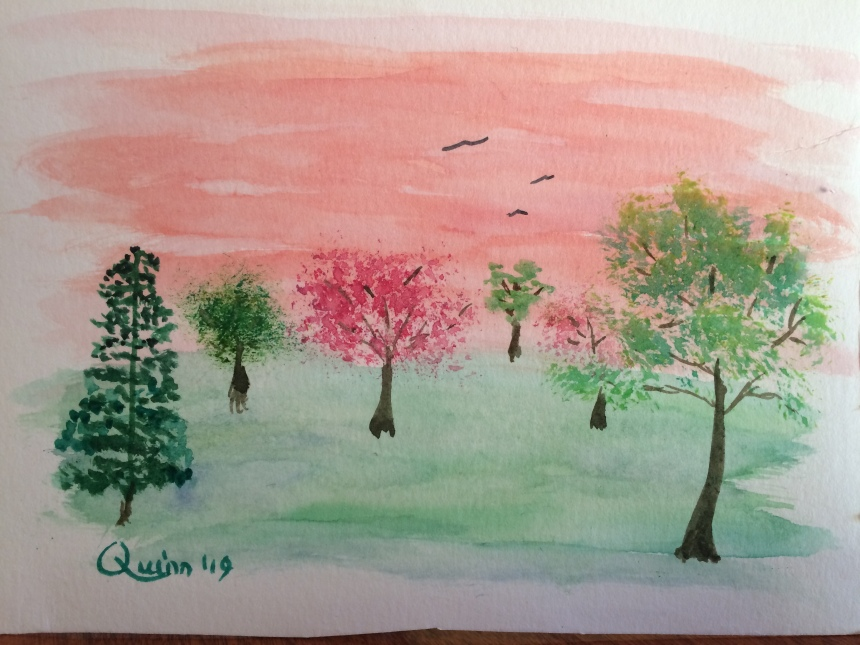 Watercolour painting of trees