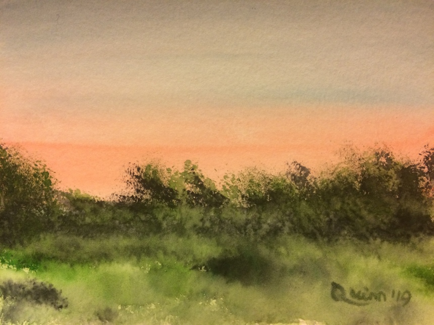 Watercolour painting north sky after sunset in June