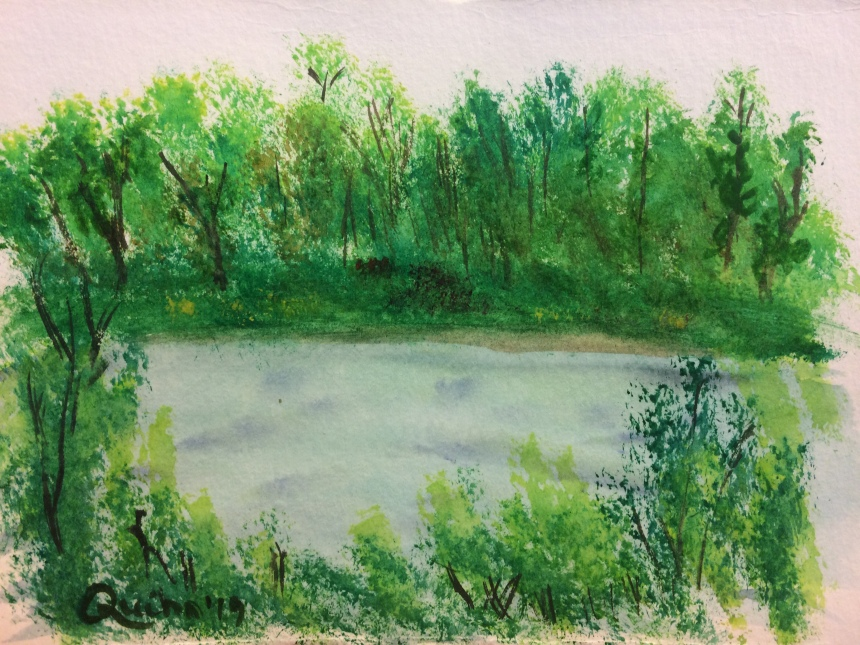 Watercolour painting water and trees