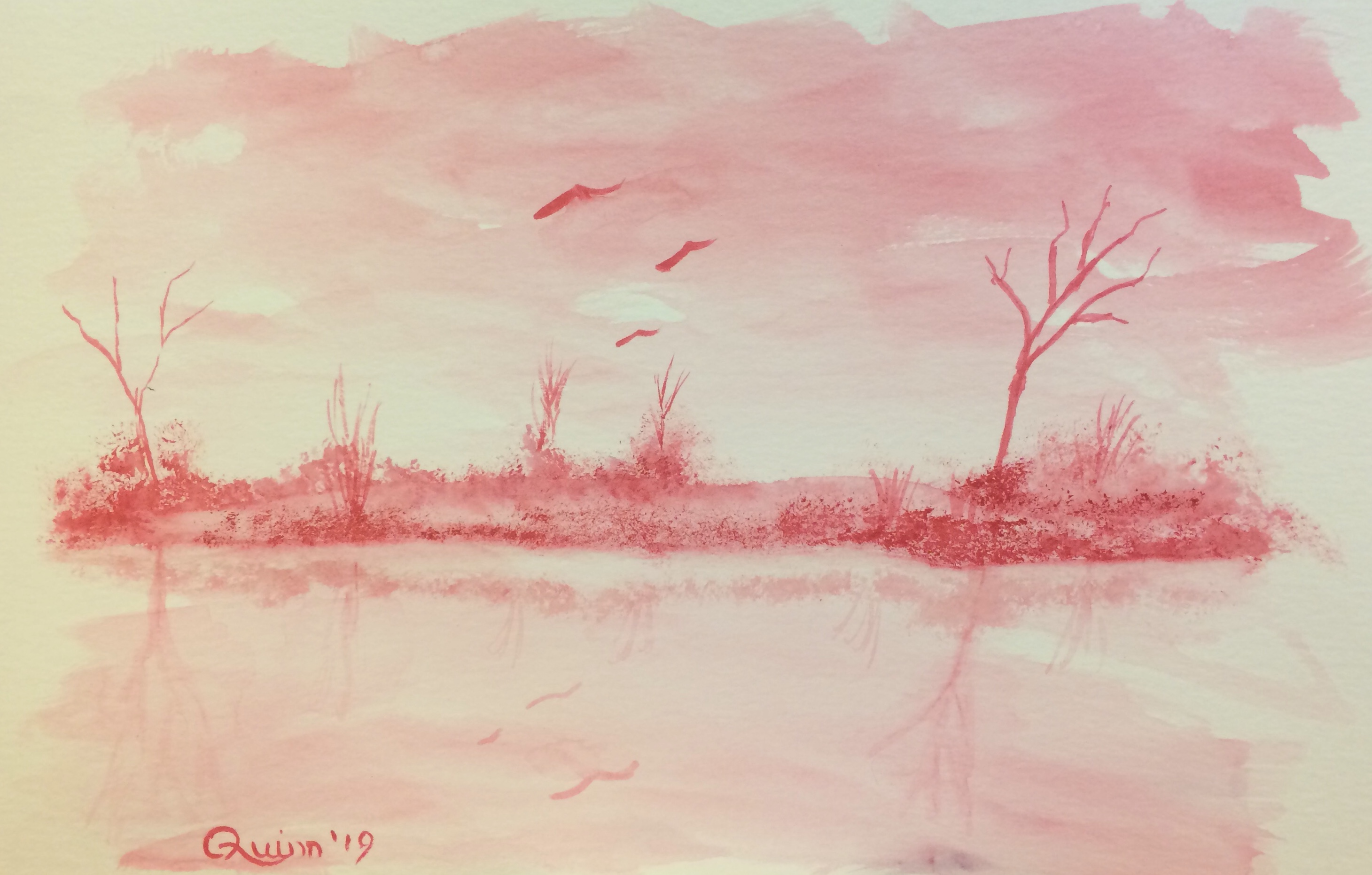 watercolour painting landscape - trees, small island, reflection in water. three birds.