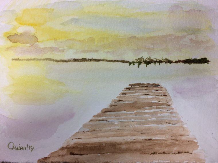 Watercolor painting sunset, dock on the water