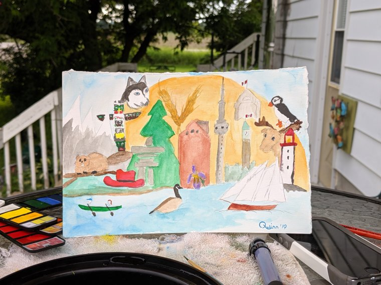 Watercolor painting icons of Canada