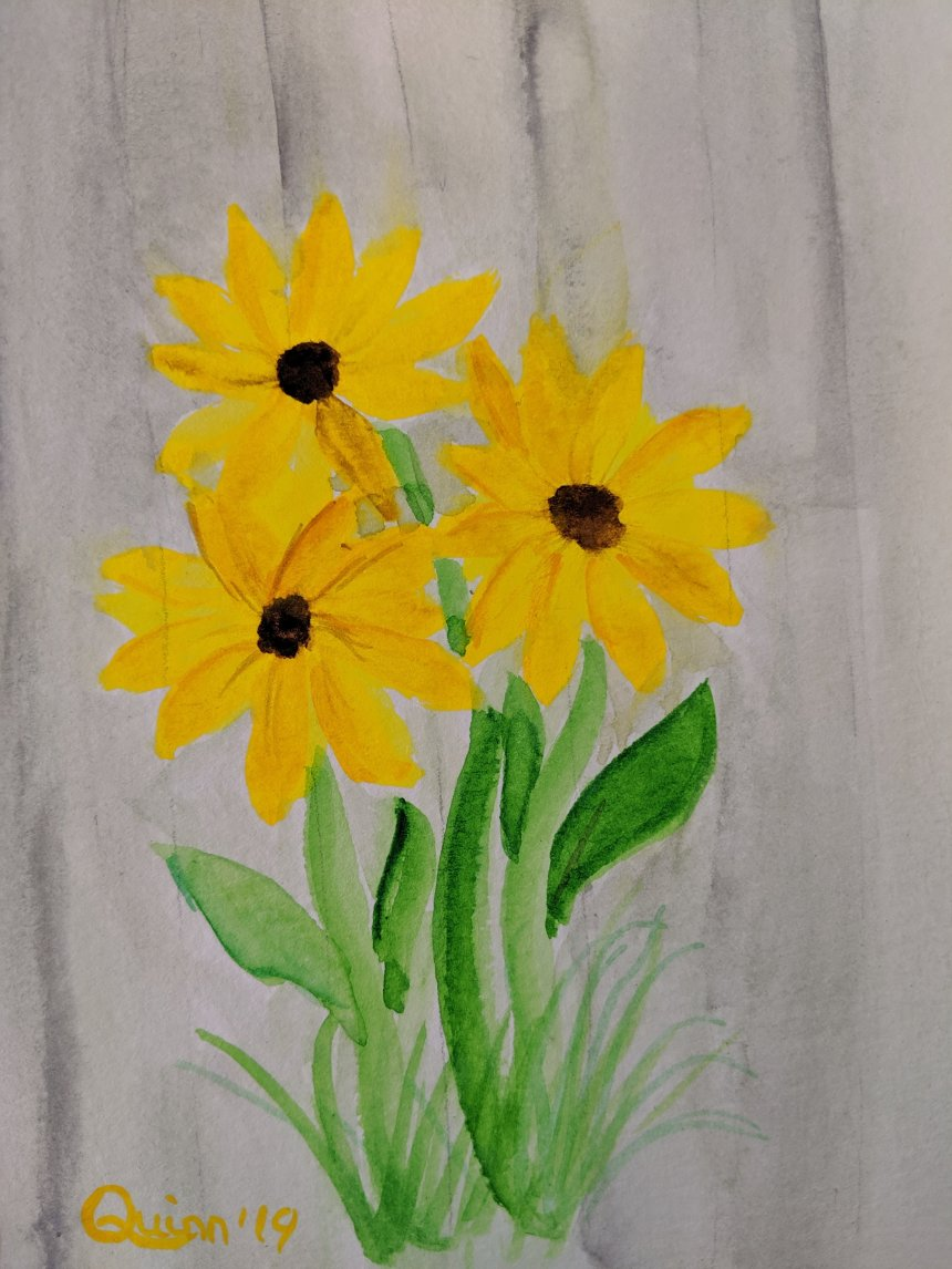 Watercolor painting of Yellow flowers against white fence