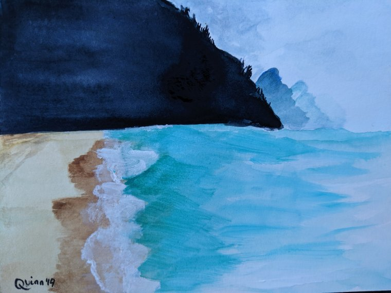 Watercolor painting beach in Kauai, Hawaii