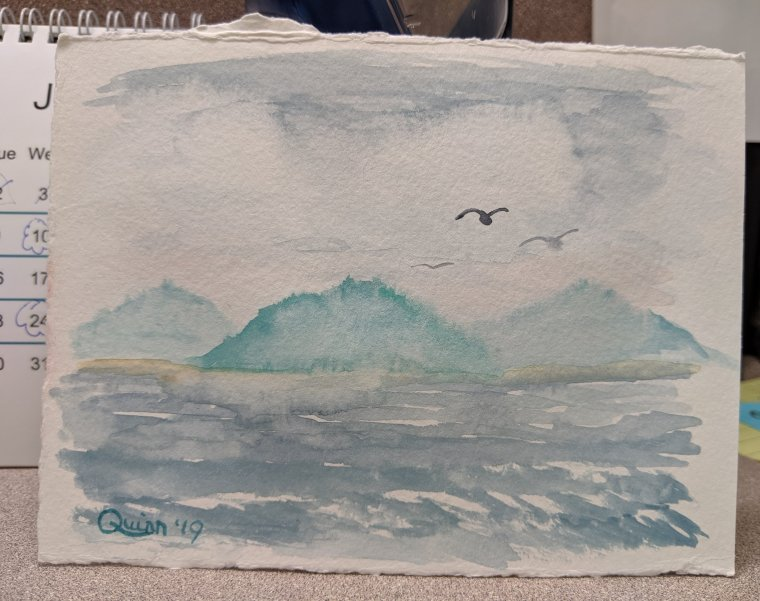 Watercolor painting landscape mountains and sea