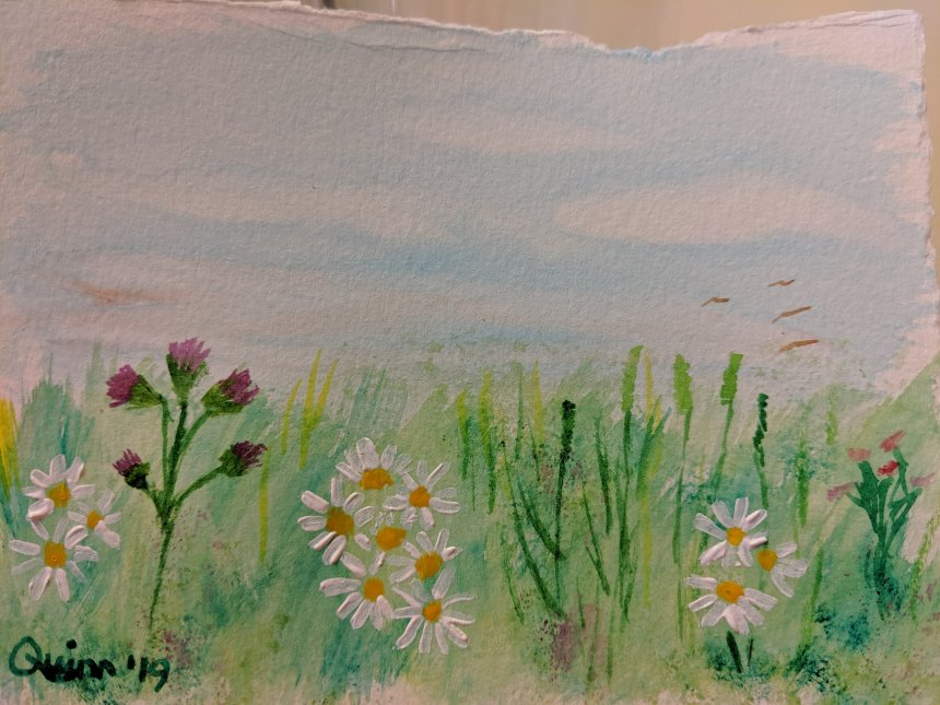 Watercolor painting landscape of wildflowers in field