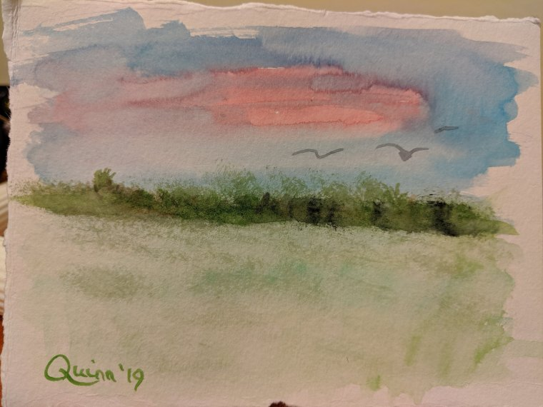 Watercolor painting stormy sky