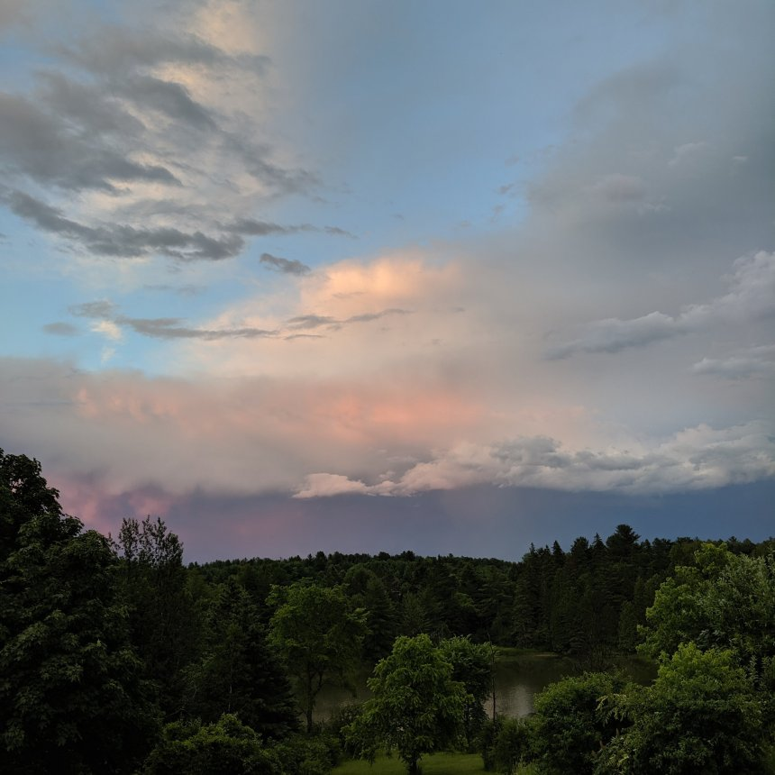 Pink sky with clouds