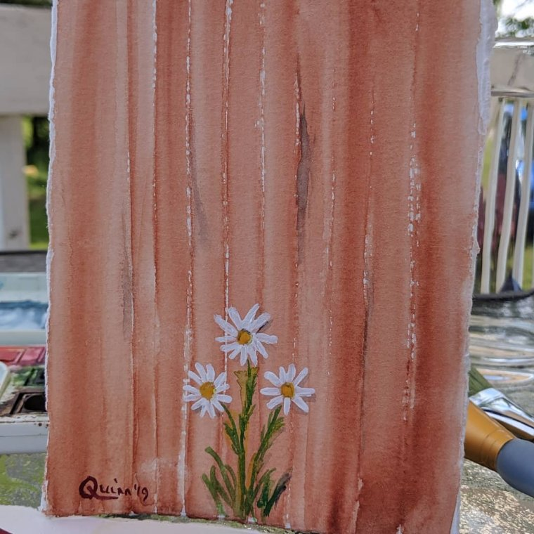 Watercolor painting rust fence with daisies
