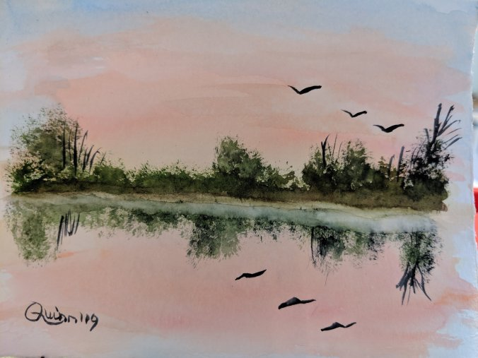Watercolor painting sunset reflecting in water