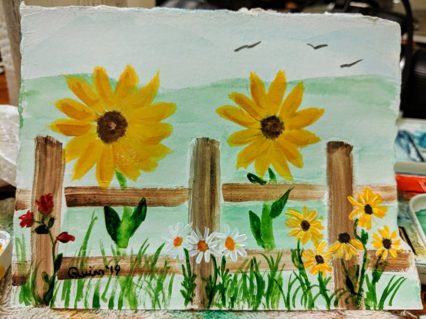 Watercolour painting fence with sunflowers, daisies, black eyed Susan and roses