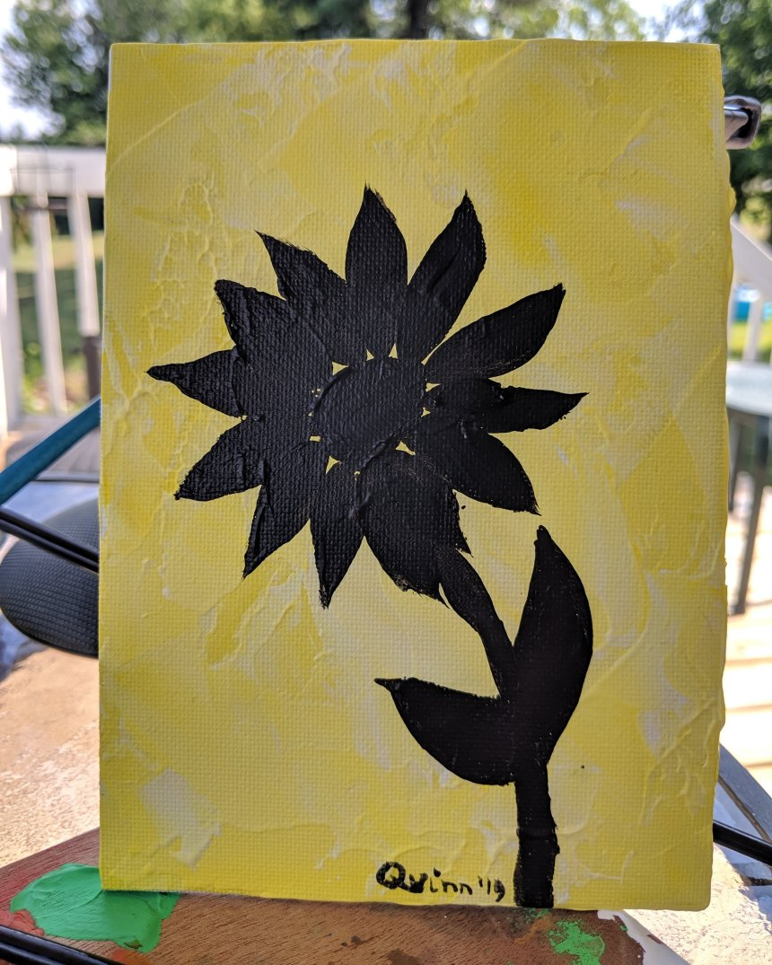 Sunflower silhouette painting, acrylic on canvas