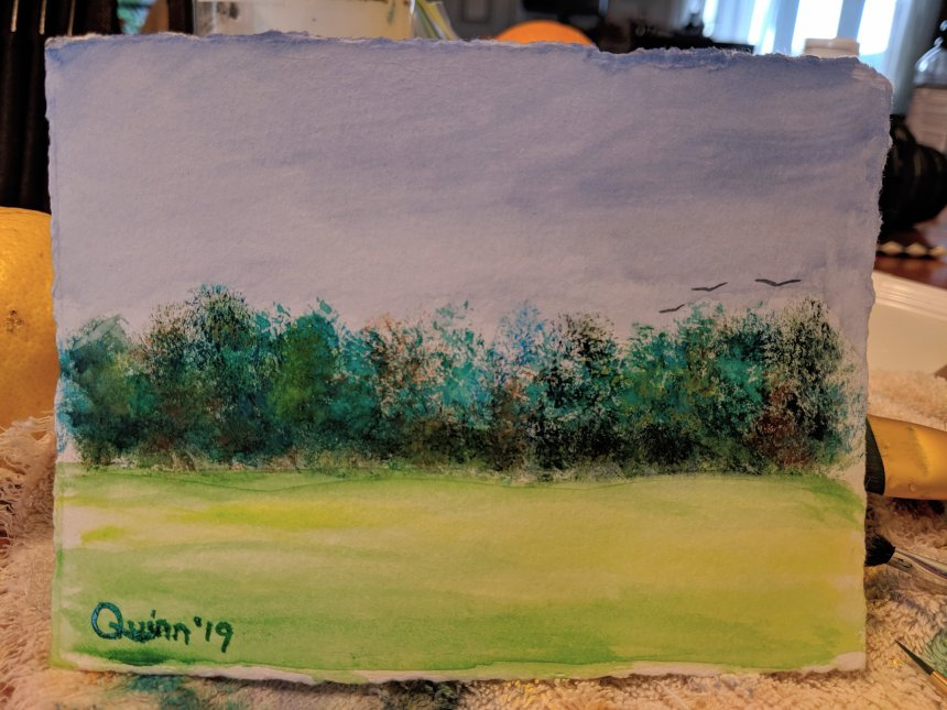 Watercolour painting landscape dark sky, trees and field