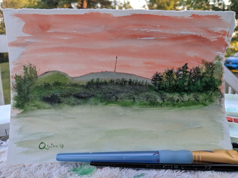 Watercolour painting landscape sunset and mountains