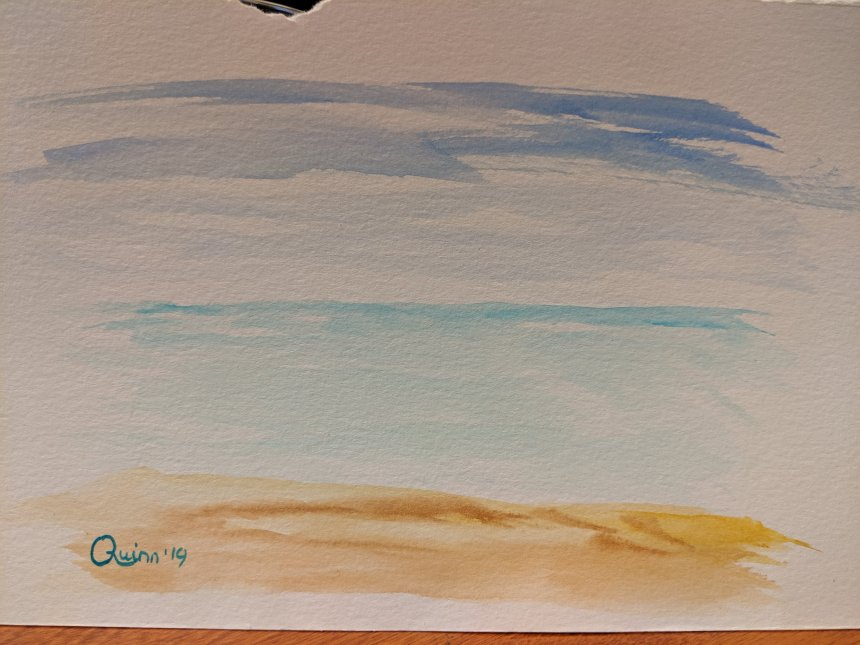 Watercolour painting sky, sea, beach