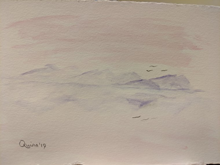 Watercolour painting landscape mountains reflecting in water at sunrise