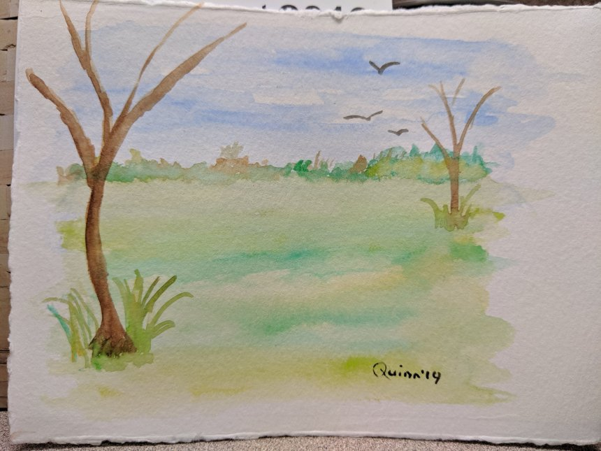 Watercolour painting landscape grass and trees
