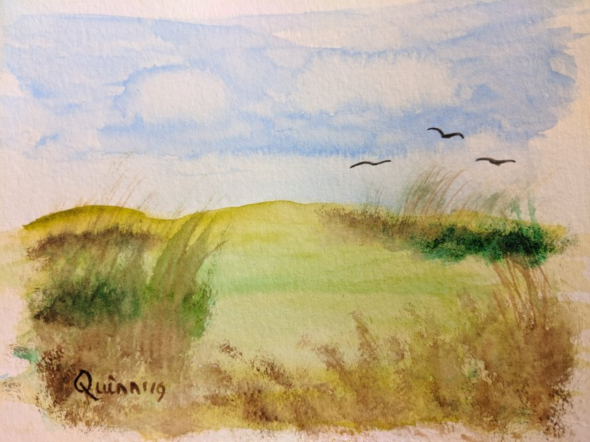 Watercolour landscape sky clouds and grass and brush