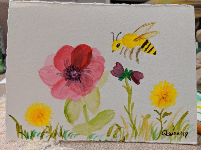 Watercolour painting flowers and bee