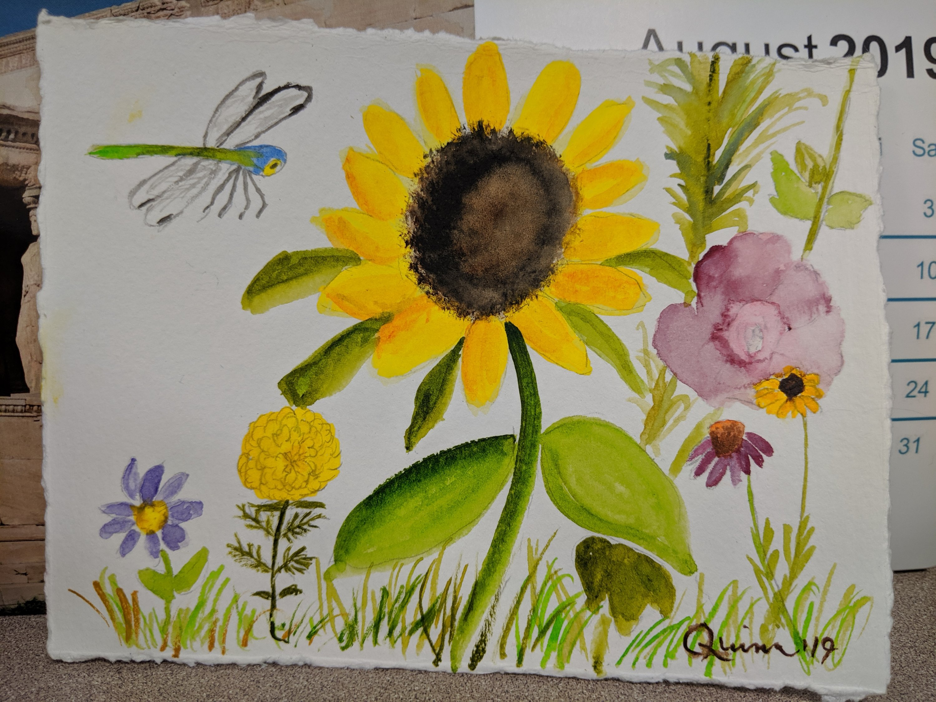 Watercolour painting flowers and Dragonfly