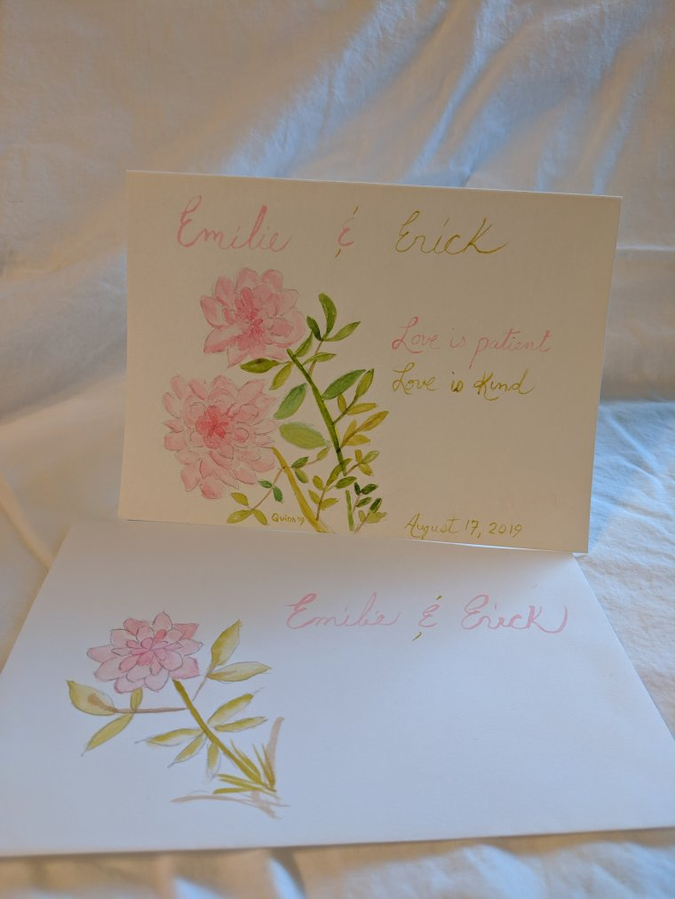 Watercolour painting of pink roses and Emilie and Erick's names with today's date
