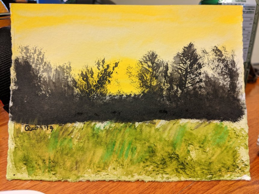 Watercolour painting landscape yellow sky, tree silhouette